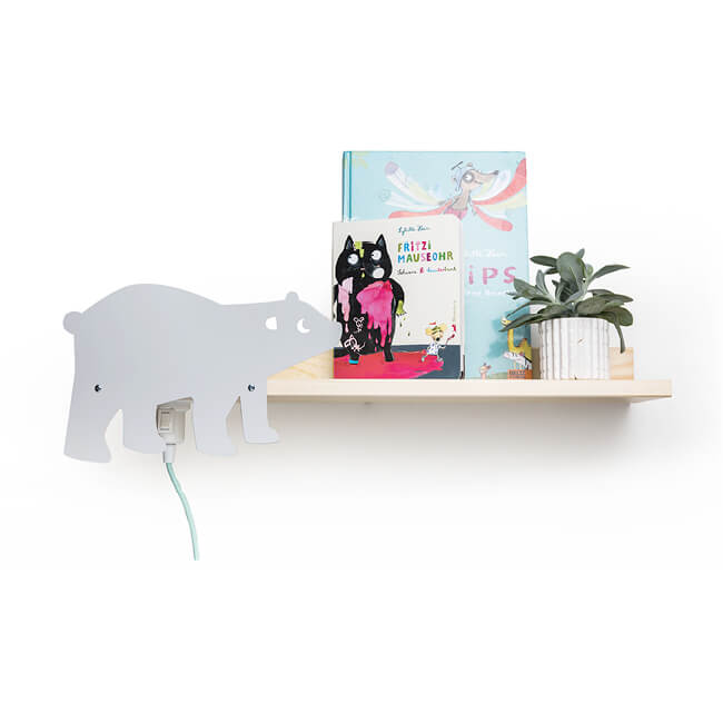 Designer Wandregal mit Leselampe - Motiv Eisbär, Bücherboard
