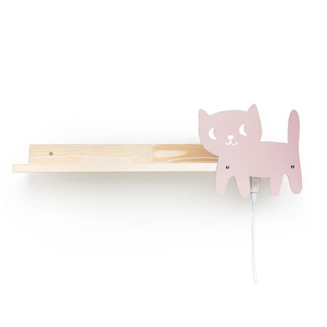 Designer Wandregal mit Leselampe - Motiv Katze, Bücherregal ideal für das Bett